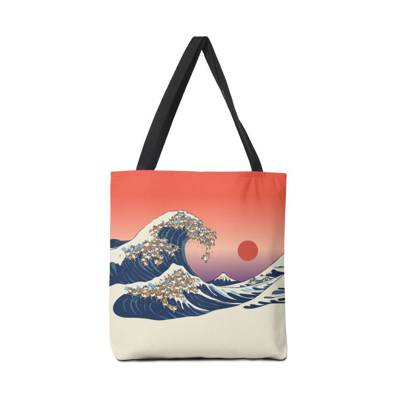 The Great Wave of Shiba Inu Accessories Tote Bag Bag by huebucket's Artist Shop