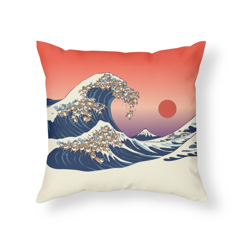 The Great Wave of Shiba Inu Home Throw Pillow by huebucket's Artist Shop