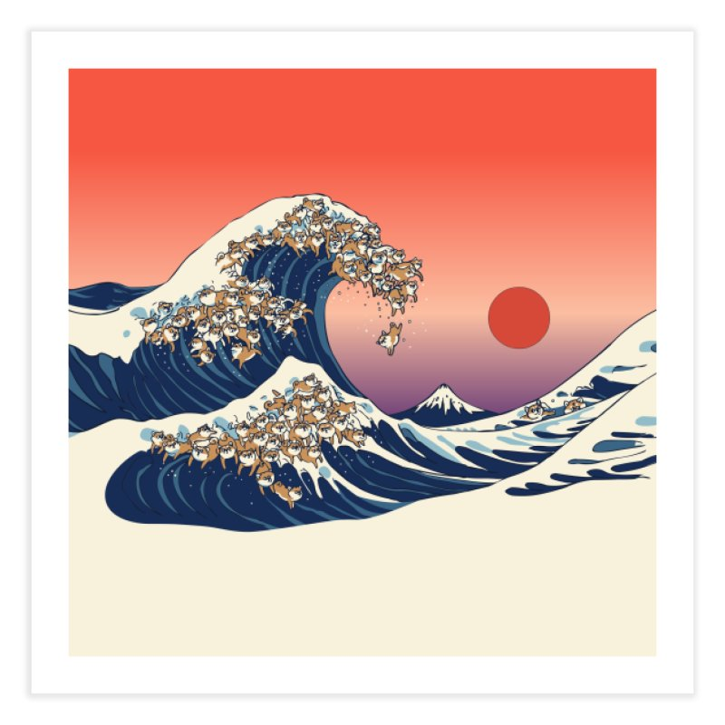 The Great Wave of Shiba Inu Home Fine Art Print by huebucket's Artist Shop