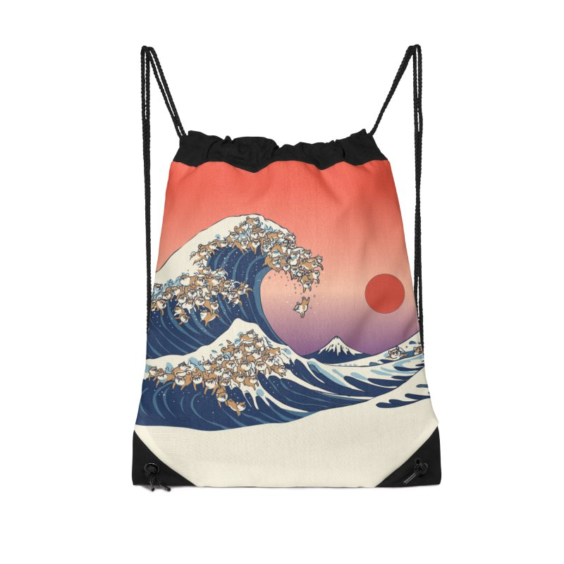 The Great Wave of Shiba Inu Accessories Drawstring Bag Bag by huebucket's Artist Shop