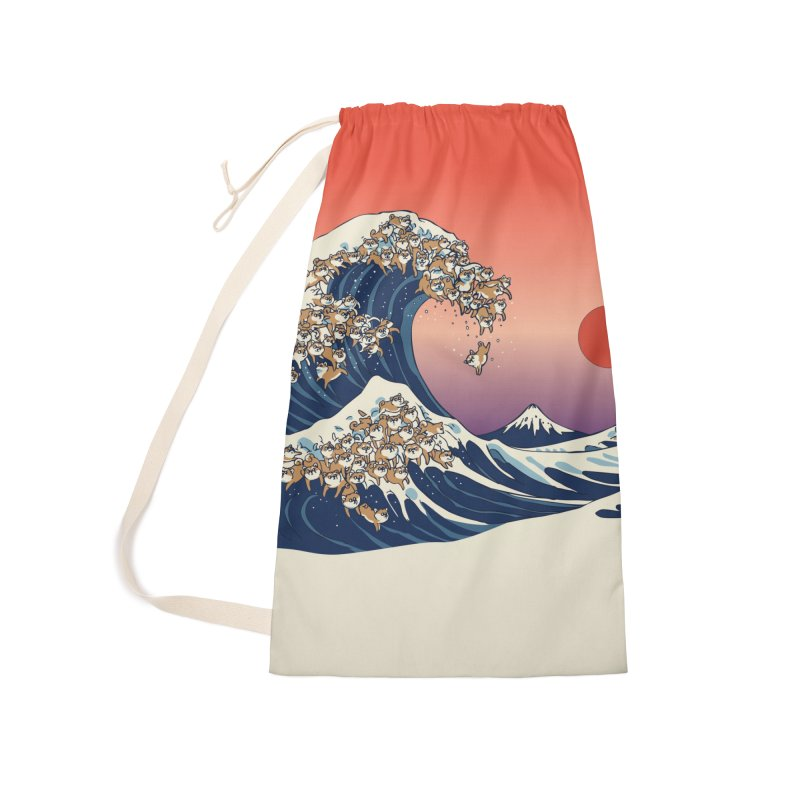 The Great Wave of Shiba Inu Accessories Laundry Bag Bag by huebucket's Artist Shop