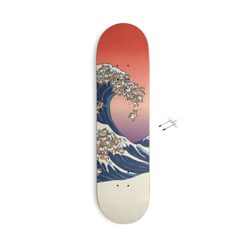 The Great Wave of Shiba Inu Accessories With Hanging Hardware Skateboard by huebucket's Artist Shop