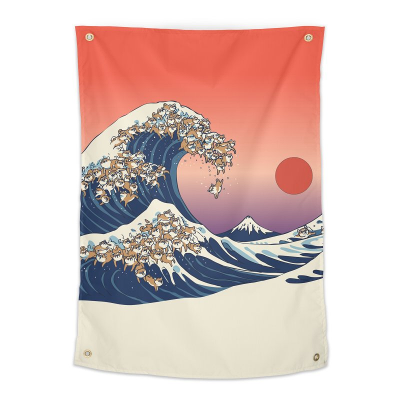 The Great Wave of Shiba Inu Home Tapestry by huebucket's Artist Shop