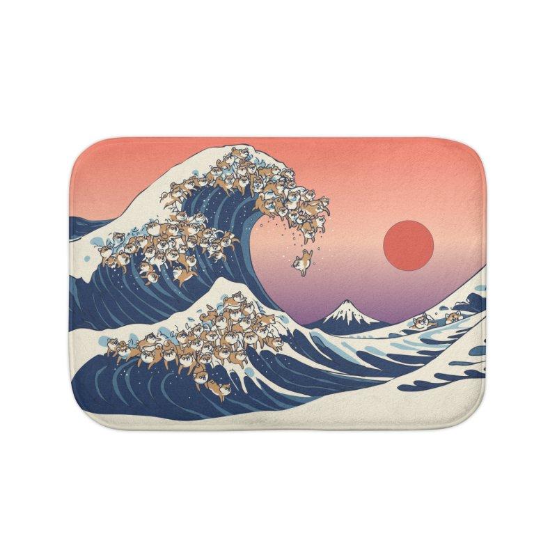 The Great Wave of Shiba Inu Home Bath Mat by huebucket's Artist Shop