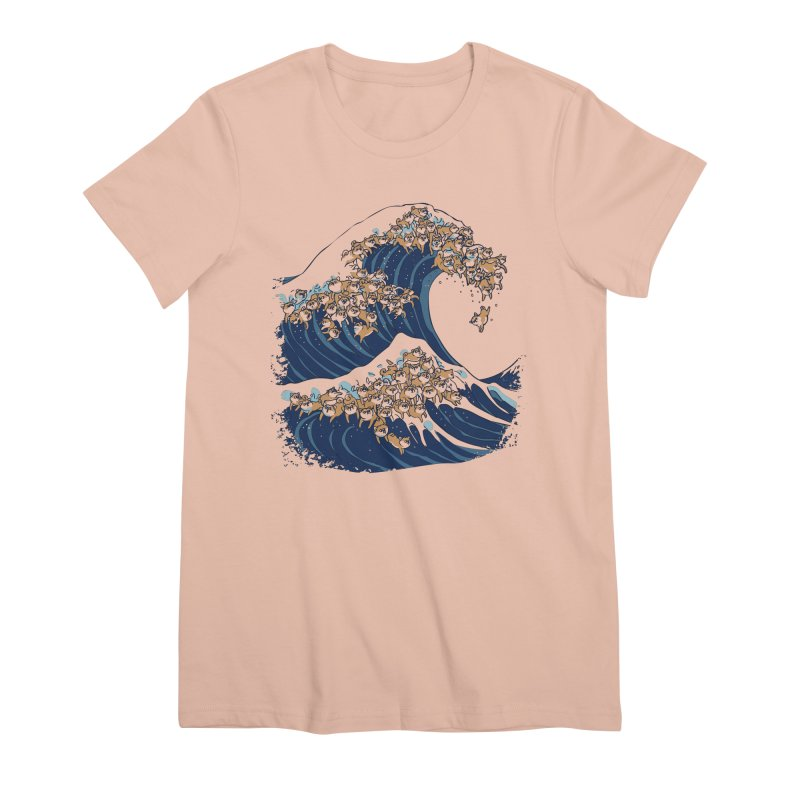 The Great Wave of Shiba Inu Women's Premium T-Shirt by huebucket's Artist Shop