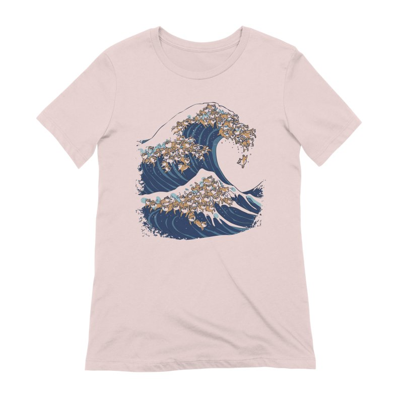 The Great Wave of Shiba Inu Women's Extra Soft T-Shirt by huebucket's Artist Shop