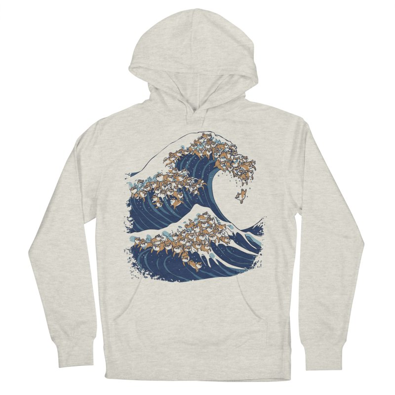The Great Wave of Shiba Inu Men's French Terry Pullover Hoody by huebucket's Artist Shop