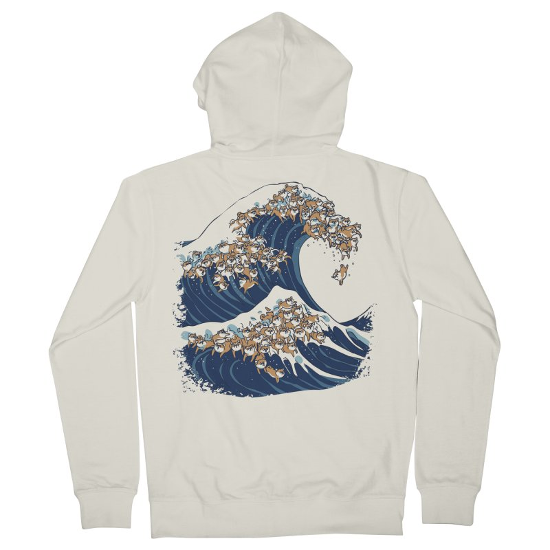 The Great Wave of Shiba Inu Men's French Terry Zip-Up Hoody by huebucket's Artist Shop