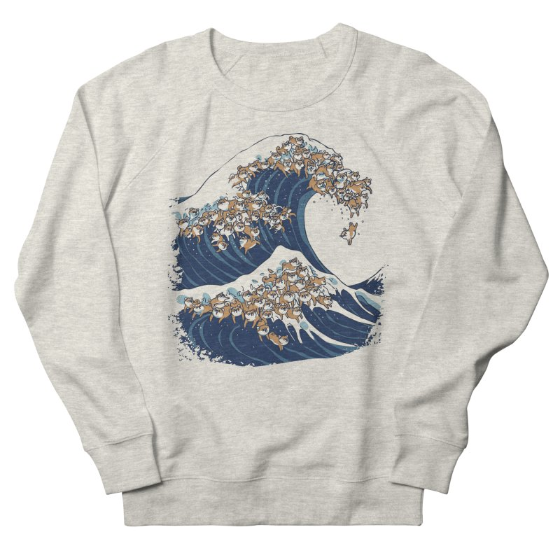 The Great Wave of Shiba Inu Men's French Terry Sweatshirt by huebucket's Artist Shop