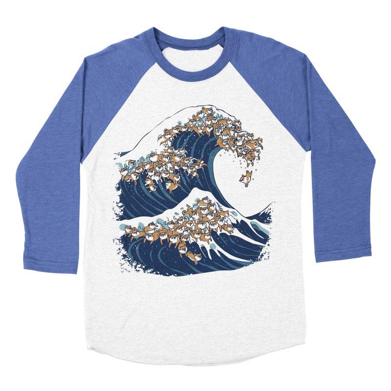 The Great Wave of Shiba Inu Men's Baseball Triblend Longsleeve T-Shirt by huebucket's Artist Shop