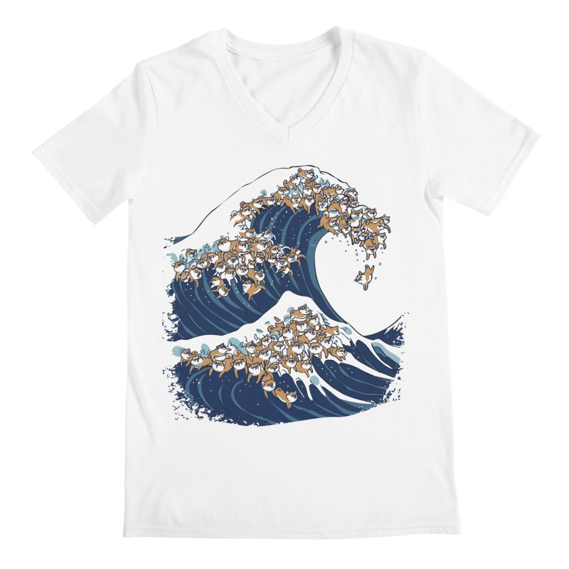 The Great Wave of Shiba Inu Men's Regular V-Neck by huebucket's Artist Shop