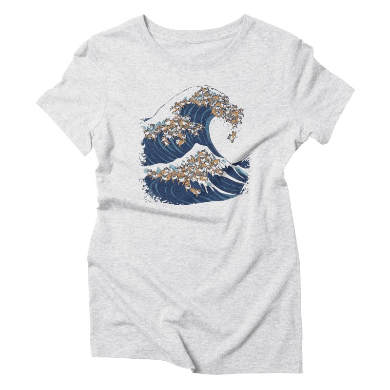 The Great Wave of Shiba Inu Women's Triblend T-Shirt by huebucket's Artist Shop