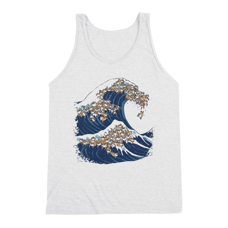 The Great Wave of Shiba Inu Men's Triblend Tank by huebucket's Artist Shop