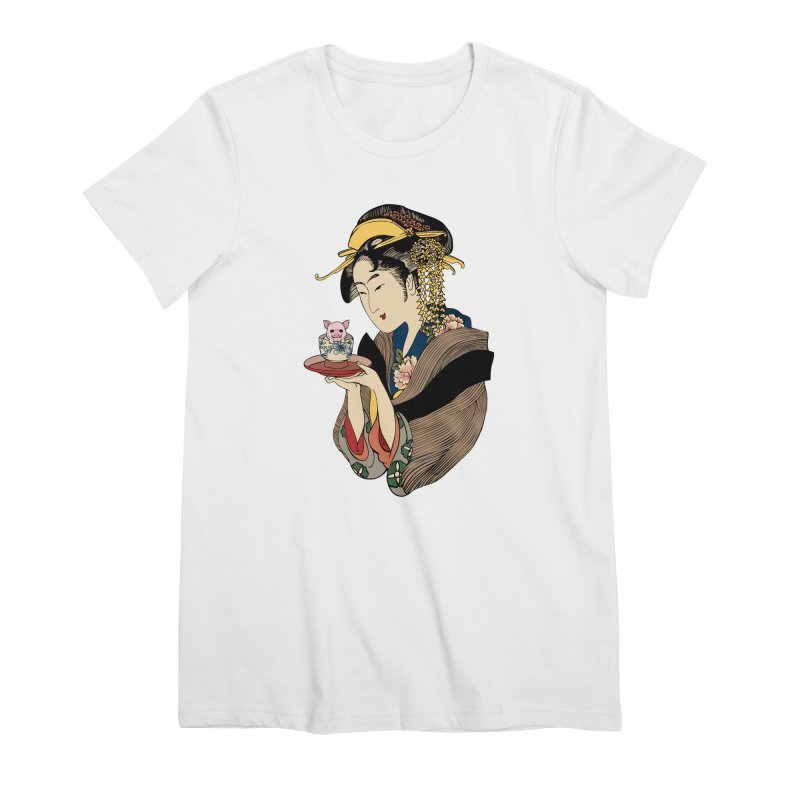 Tea Time with Pig Women's Premium T-Shirt by huebucket's Artist Shop