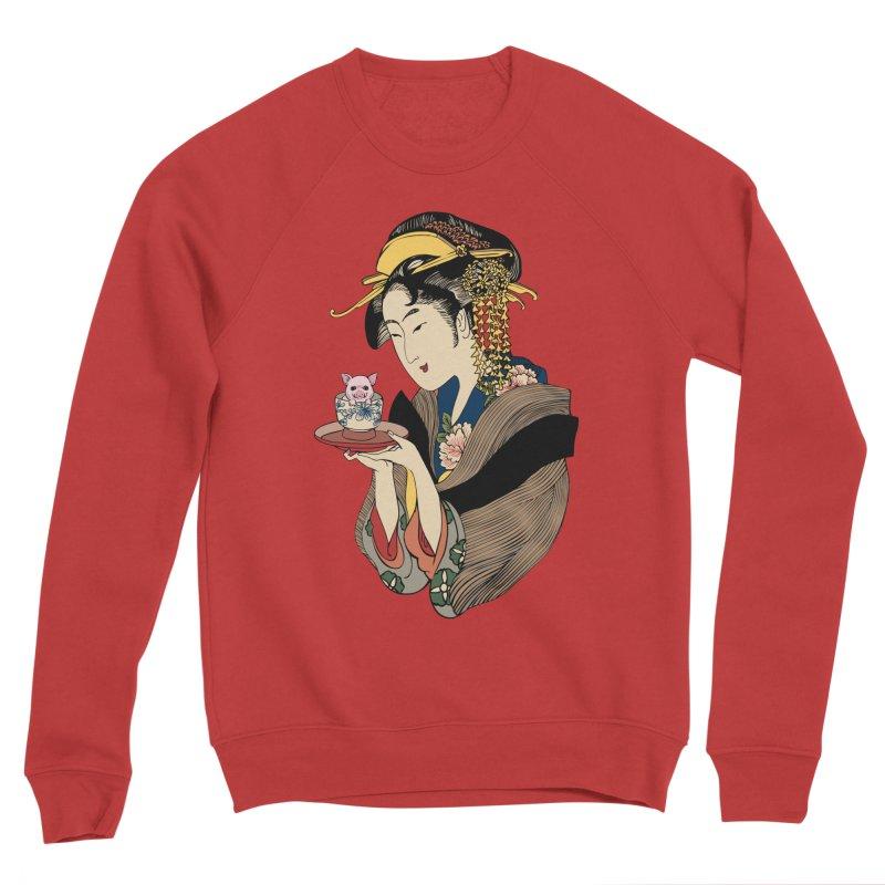 Tea Time with Pig Men's Sponge Fleece Sweatshirt by huebucket's Artist Shop