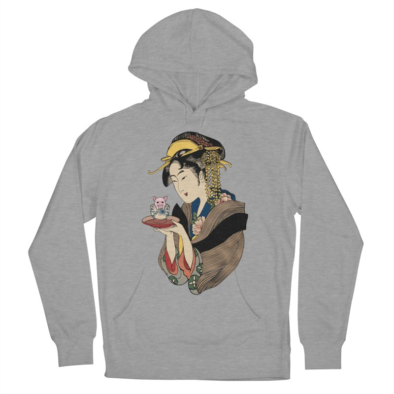 Tea Time with Pig Women's French Terry Pullover Hoody by huebucket's Artist Shop
