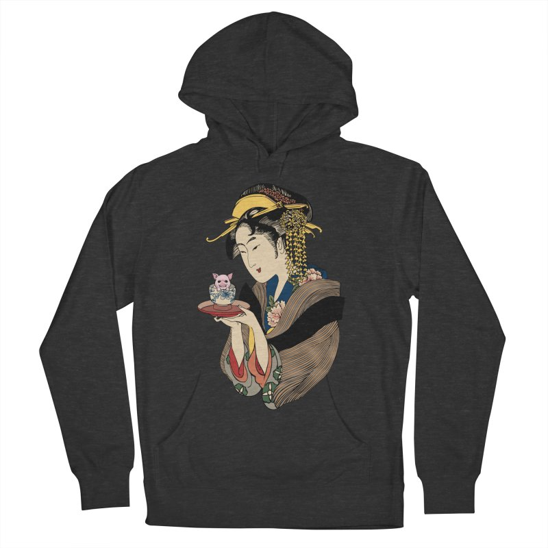Tea Time with Pig Men's French Terry Pullover Hoody by huebucket's Artist Shop