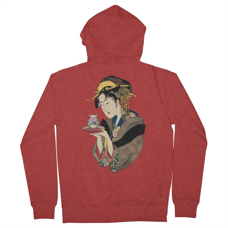 Tea Time with Pig Women's French Terry Zip-Up Hoody by huebucket's Artist Shop