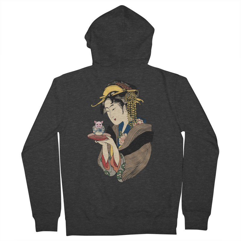 Tea Time with Pig Men's French Terry Zip-Up Hoody by huebucket's Artist Shop