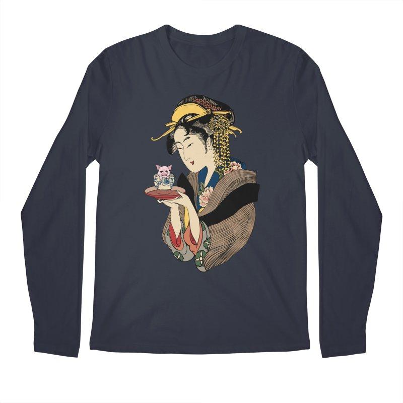Tea Time with Pig Men's Regular Longsleeve T-Shirt by huebucket's Artist Shop