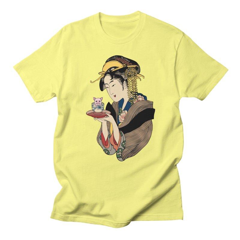 Tea Time with Pig Women's Regular Unisex T-Shirt by huebucket's Artist Shop