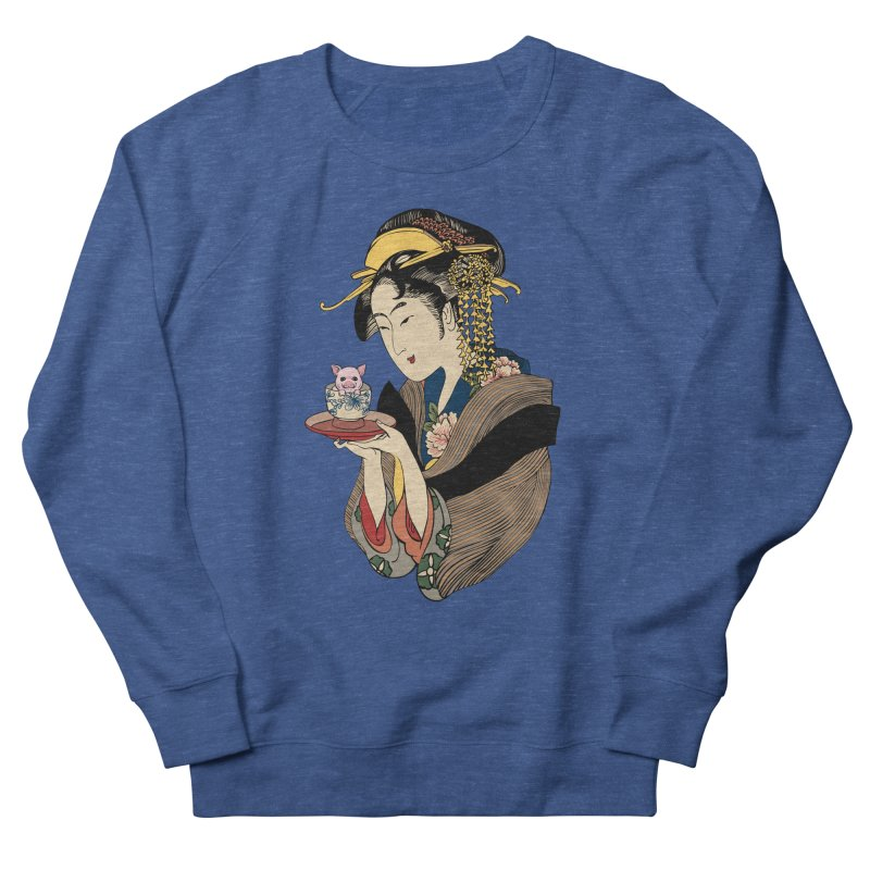 Tea Time with Pig Men's French Terry Sweatshirt by huebucket's Artist Shop