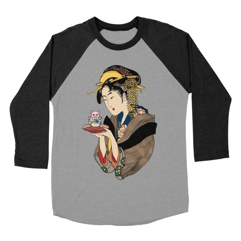Tea Time with Pig Women's Baseball Triblend Longsleeve T-Shirt by huebucket's Artist Shop