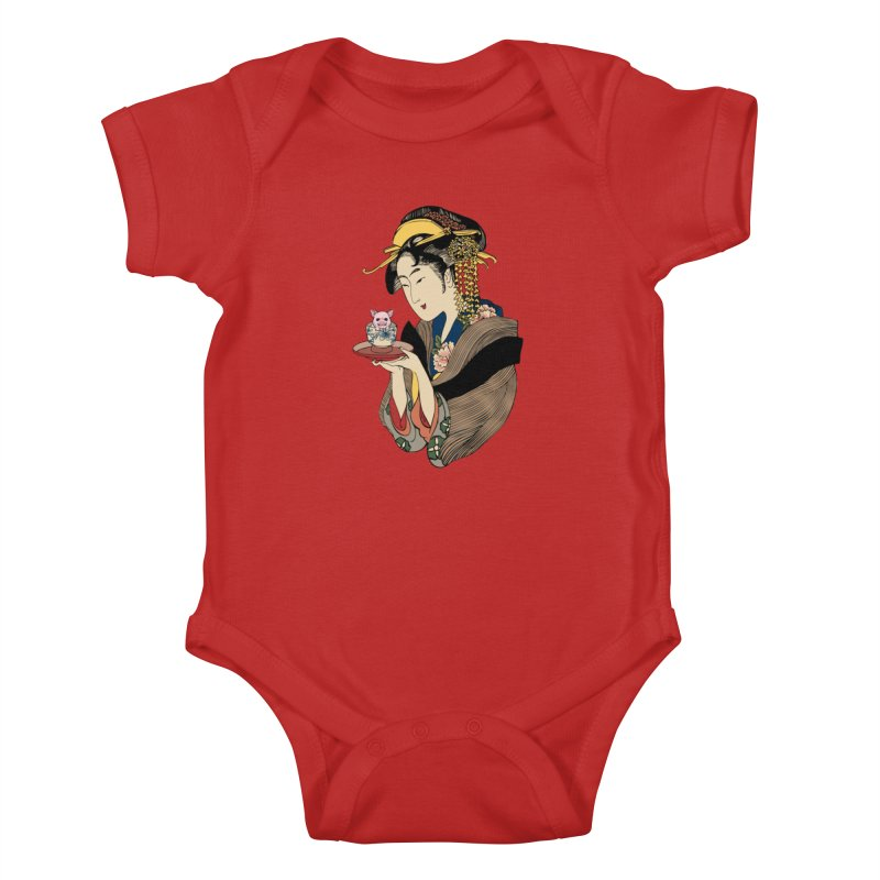 Tea Time with Pig Kids Baby Bodysuit by huebucket's Artist Shop