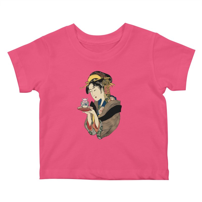 Tea Time with Pig Kids Baby T-Shirt by huebucket's Artist Shop