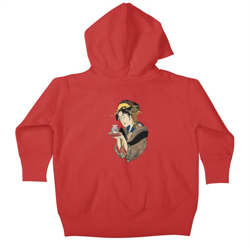 Tea Time with Pig Kids Baby Zip-Up Hoody by huebucket's Artist Shop