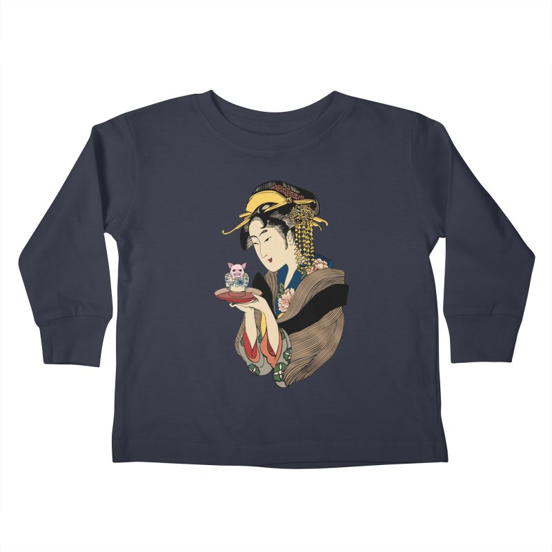Tea Time with Pig Kids Toddler Longsleeve T-Shirt by huebucket's Artist Shop