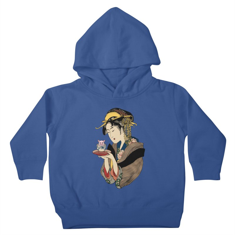 Tea Time with Pig Kids Toddler Pullover Hoody by huebucket's Artist Shop