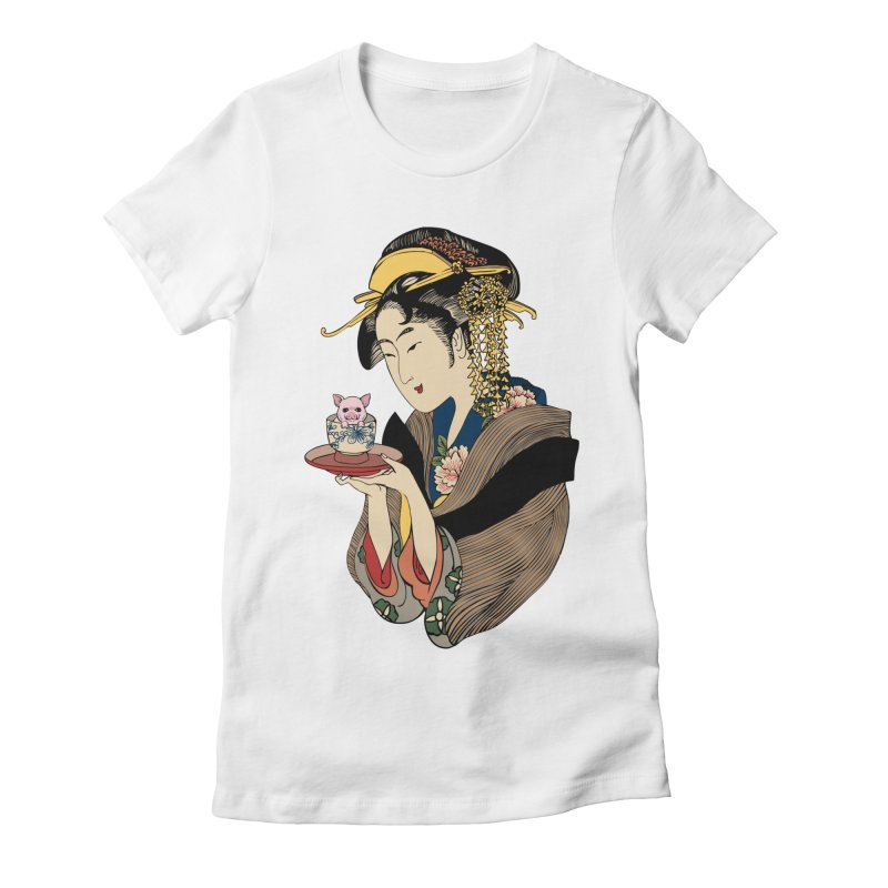 Tea Time with Pig Women's Fitted T-Shirt by huebucket's Artist Shop
