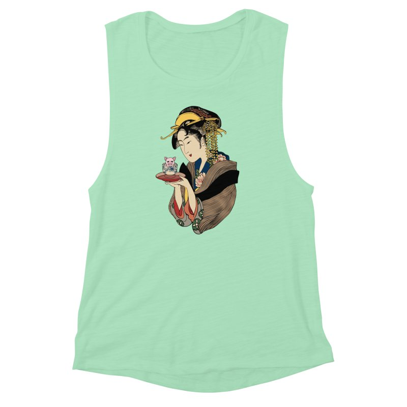 Tea Time with Pig Women's Muscle Tank by huebucket's Artist Shop