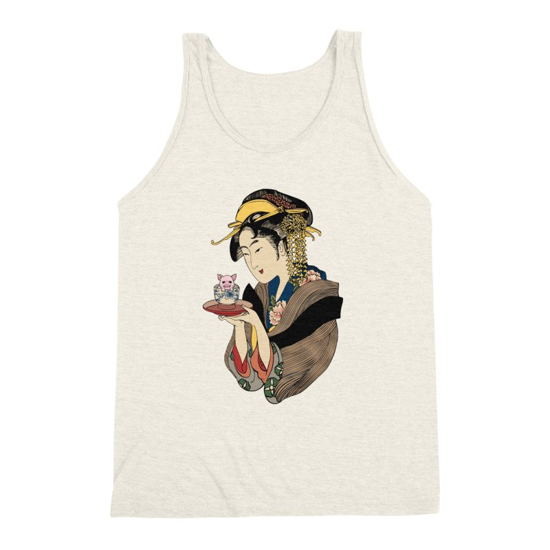 Tea Time with Pig Men's Triblend Tank by huebucket's Artist Shop