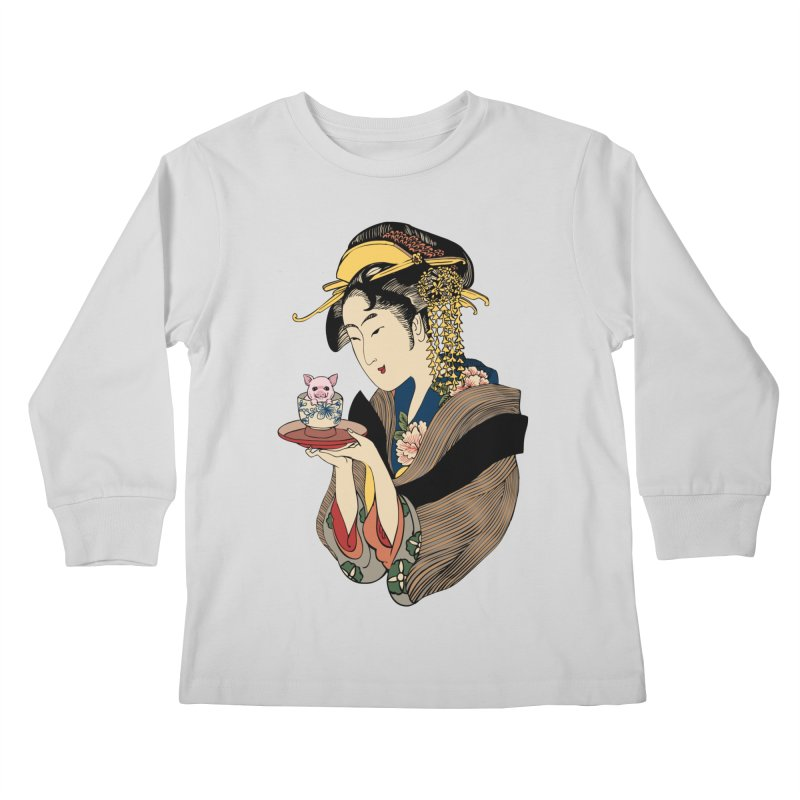Tea Time with Pig Kids Longsleeve T-Shirt by huebucket's Artist Shop