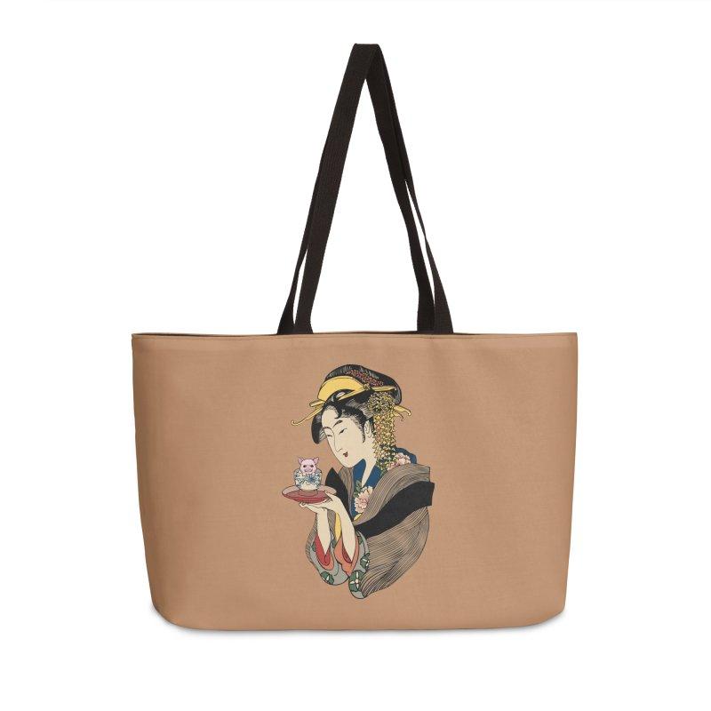 Tea Time with Pig Accessories Weekender Bag Bag by huebucket's Artist Shop