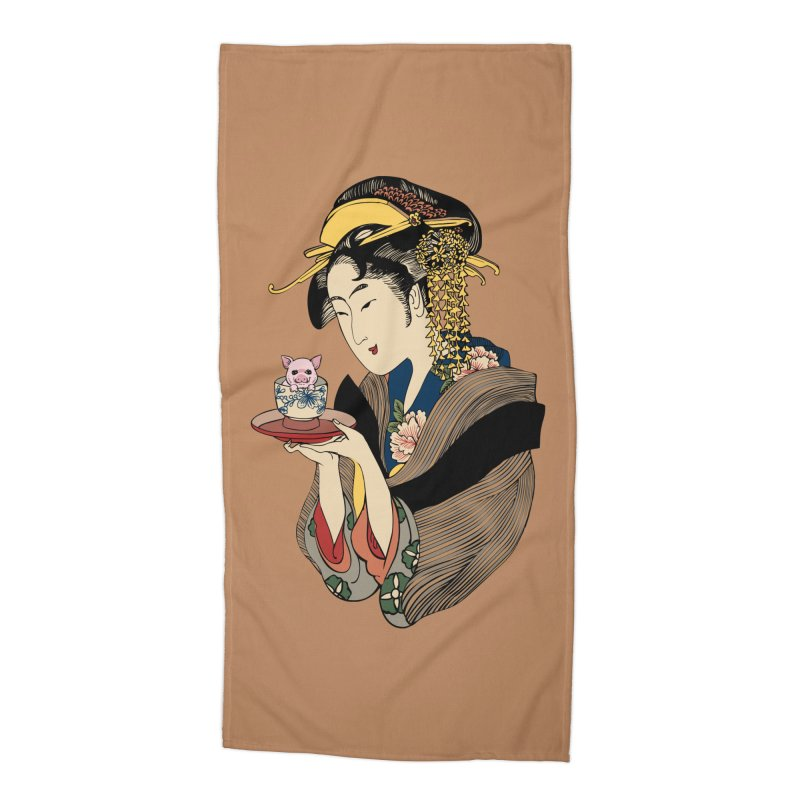 Tea Time with Pig Accessories Beach Towel by huebucket's Artist Shop