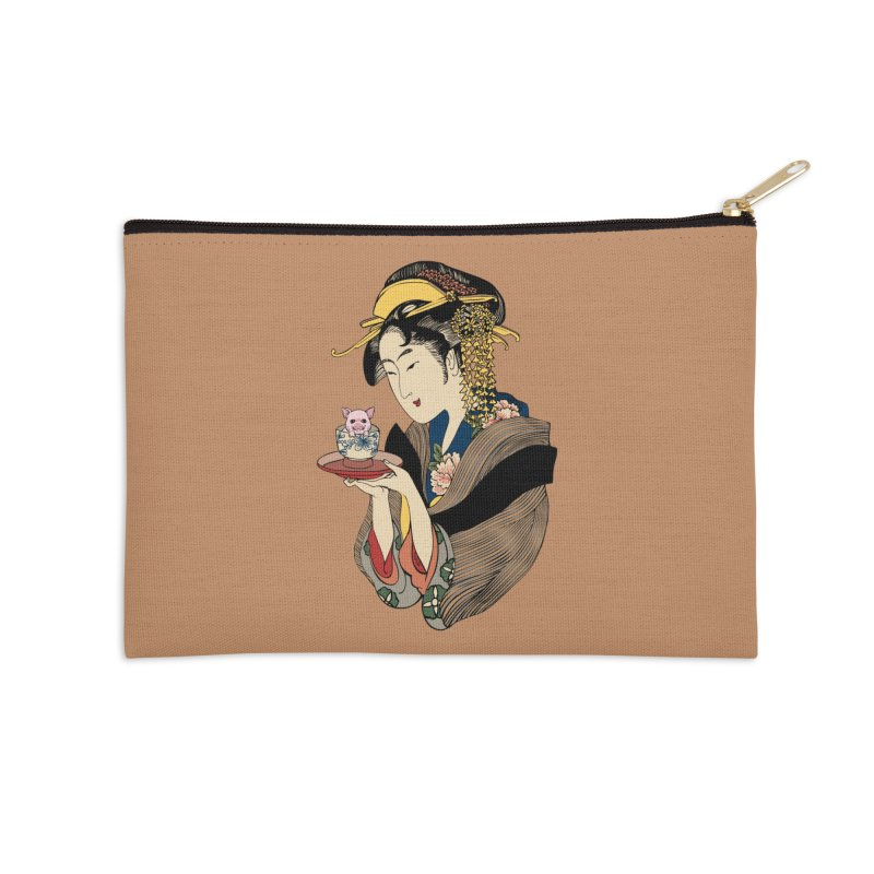 Tea Time with Pig Accessories Zip Pouch by huebucket's Artist Shop