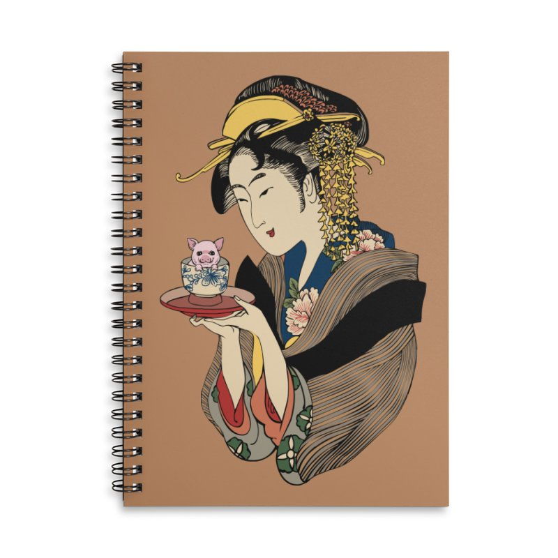 Tea Time with Pig Accessories Lined Spiral Notebook by huebucket's Artist Shop