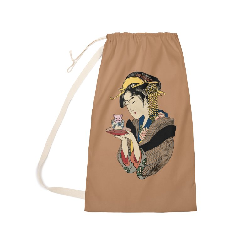 Tea Time with Pig Accessories Laundry Bag Bag by huebucket's Artist Shop