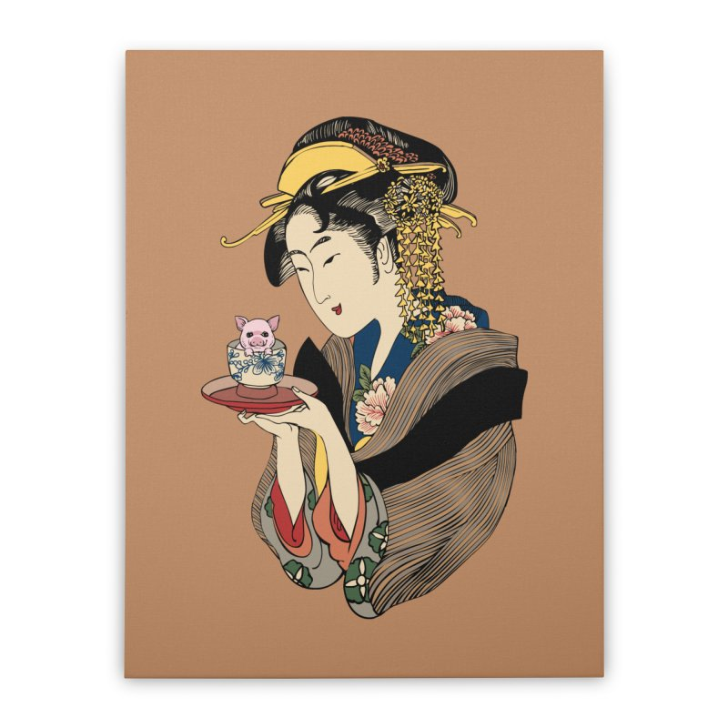 Tea Time with Pig Home Stretched Canvas by huebucket's Artist Shop