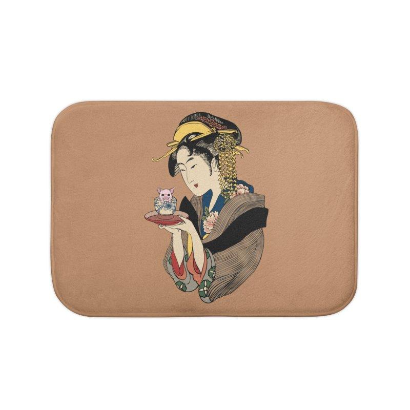 Tea Time with Pig Home Bath Mat by huebucket's Artist Shop