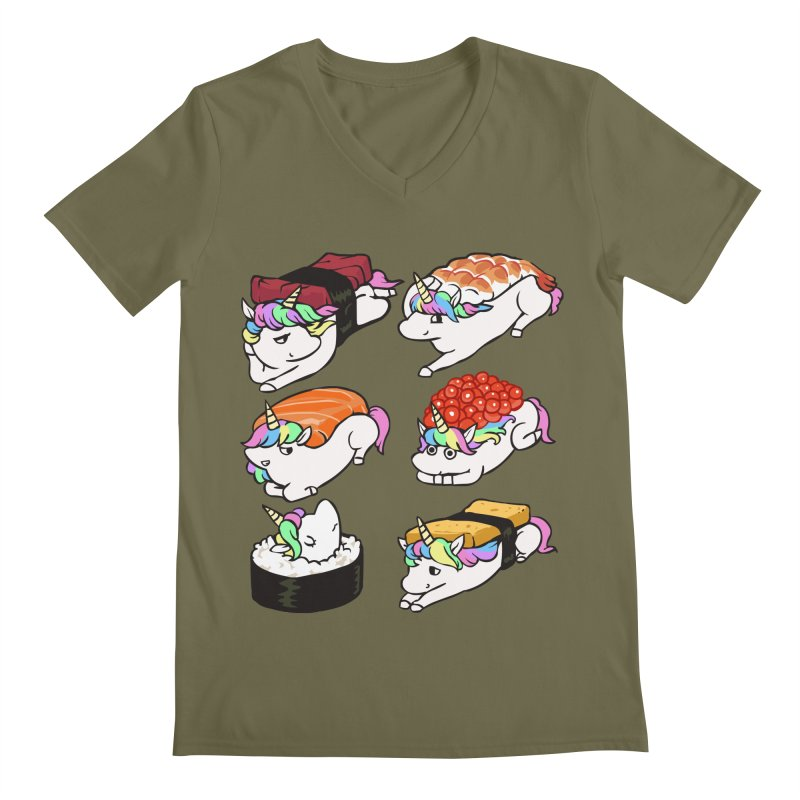 Sushi Unicorn Men's Regular V-Neck by huebucket's Artist Shop
