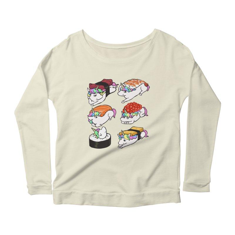 Sushi Unicorn Women's Scoop Neck Longsleeve T-Shirt by huebucket's Artist Shop