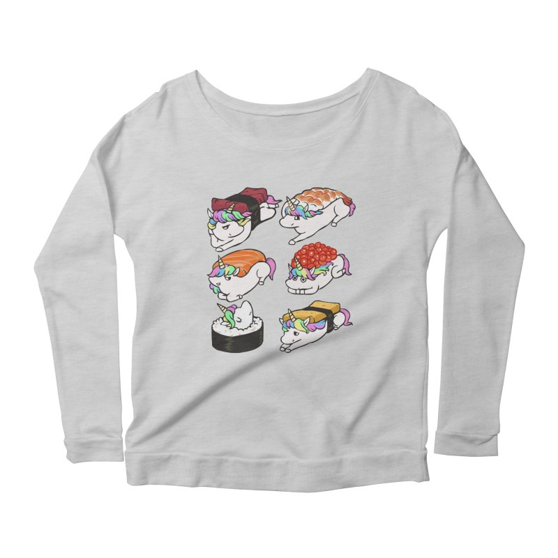 Sushi Unicorn Women's Scoop Neck Longsleeve T-Shirt by huebucket's Artist Shop