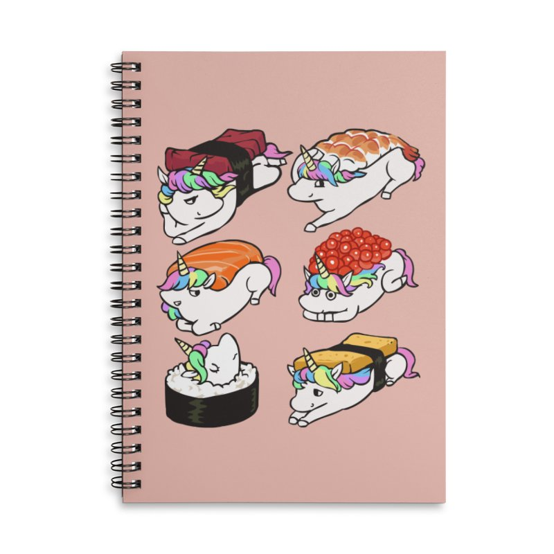 Sushi Unicorn Accessories Lined Spiral Notebook by huebucket's Artist Shop