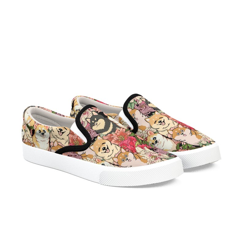 Because Shiba Inu Women's Slip-On Shoes by huebucket's Artist Shop