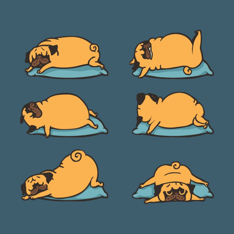 Pug Yoga for Better Sleep by huebucket's Artist Shop