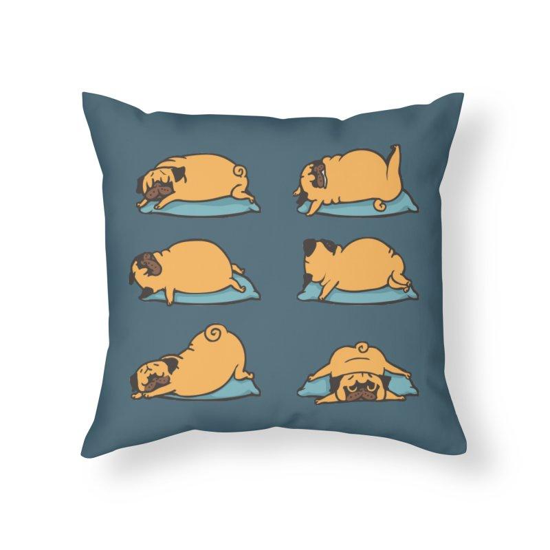 Pug Yoga for Better Sleep Home Throw Pillow by huebucket's Artist Shop